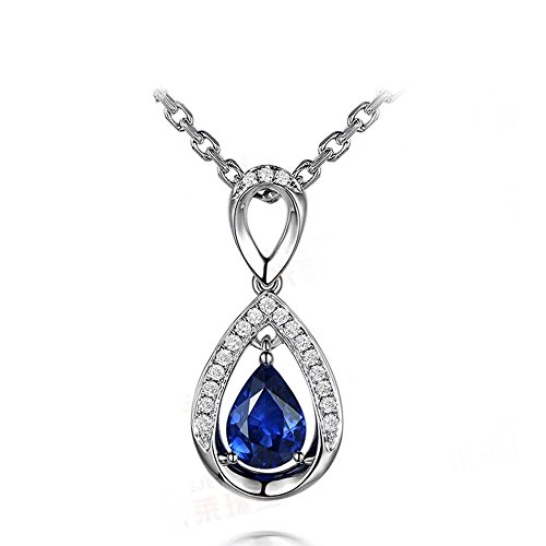 1ct Pear Shaped Natural Blue Sapphire Diamond 14k White Gold Pendant Sterling Silver Necklace (18k Gold Pear Shaped Sapphire)