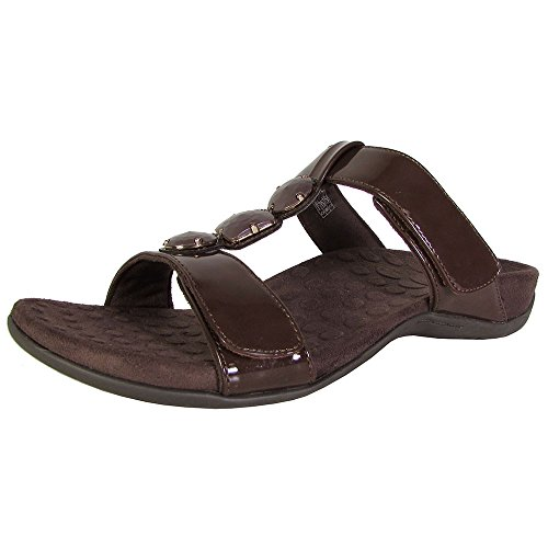 Orthaheel Womens Albany Jeweled Slide Sandal Shoes, Chocolate, US 8