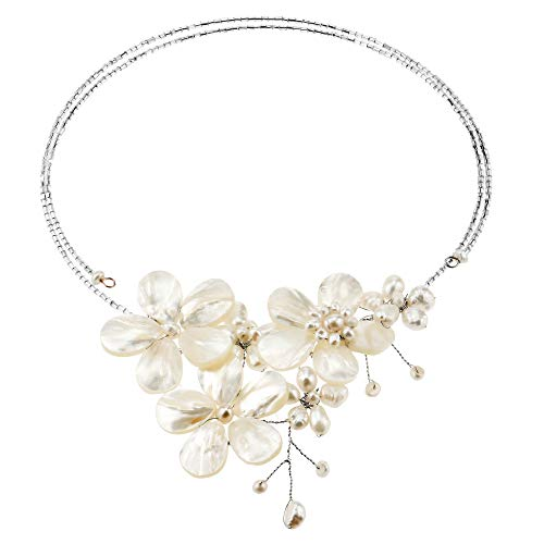 AeraVida Floral Mother of Pearl & Cultured Freshwater White Pearl Cluster Choker Wrap Necklace