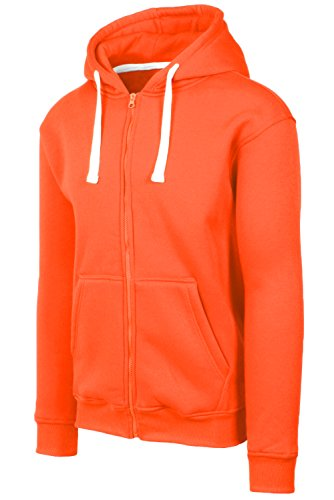 JC DISTRO Mens Hipster Hip Hop Basic Heavy Weight Zip-Up Orange Hoodie Jacket Large by JC DISTRO