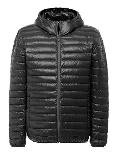 Mens Down Jacket Packable Hood Lightweight Foldable Pack Puffer Fit Zip Down-Filled Jacket Top Outerwear Windbreaker Slim Coat XL Black