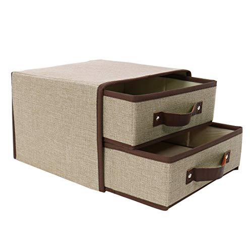 (uxcell Large Foldable Linen Fabric 2-Drawer Storage Cube Bin with Faux Leather Handle, Cloth Storage Chest Unit for Closet Organizer for Bedroom Office Khaki)