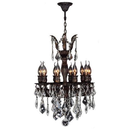 (Worldwide Lighting Versailles Collection 10 Light Flemish Brass Finish and Clear Crystal Chandelier 17