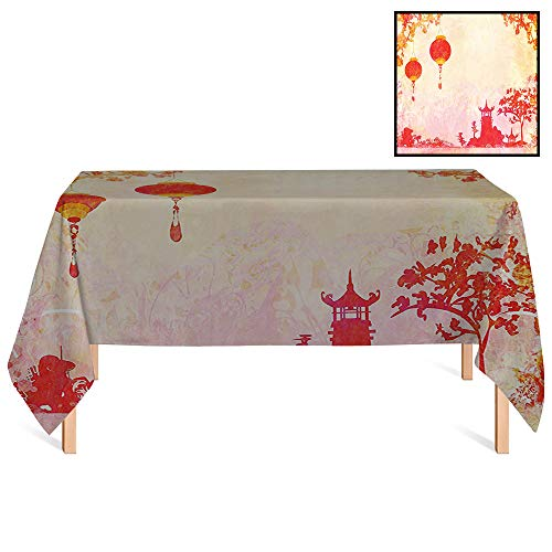 SATVSHOP Decorative Table Top Cover /60x120 Rectangular,Lantern Asian Landscape with Lanterns and Pagoda Temple Spirituality Meditation Habitat Image Orange Red.for Wedding/Banquet/Restaurant.