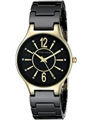 Anne Klein Womens AK/2182BKGB Glitter Accented Gold-Tone and Black Ceramic Bracelet Watch