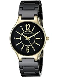 Women's AK/2182BKGB Glitter Accented Gold-Tone and Black Ceramic Bracelet Watch
