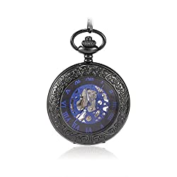 Sinopic Victorian Pocket Watch for Women with Vintage Blue Roman Numerals Skeleton Black Dial with Chain