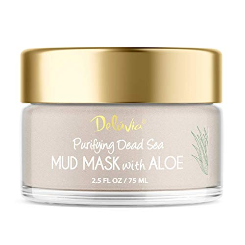 Dead Sea Mud Mask with Aloe Vera for Face and Body, Great for Blackheads, Pore Minimizing, Exfoliating, Purifying. Perfect for Dry, Oily or Combination Skin, 2.5 oz. by Deluvia