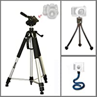 Heavy Duty Photo & Video Tripod with Flexible Monopod and Mini Tripod for Canon PowerShot G11 and Canon PowerShot G12