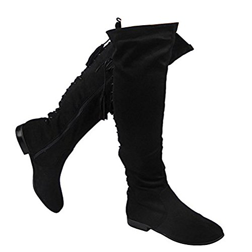 8 The Up Black Heel Size High Low 3 Knee Boots Ladies Lace Over Tie Flat g4WSwB5qOA
