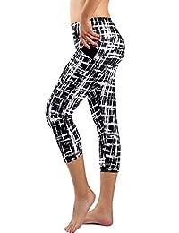 Zinmore Women's Workout Leggings with Pockets Exercise Pants Printed Yoga Capri Pants