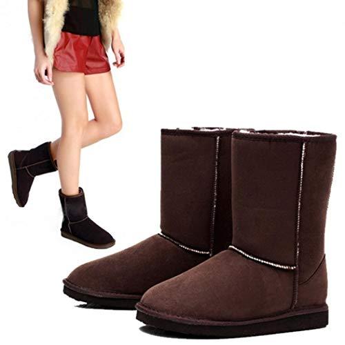 Talon Neige Filles Bottes Boots Femmes Brun Fourrées Hiver Et De Chaud Plat Coorun Foncé gq8IC5