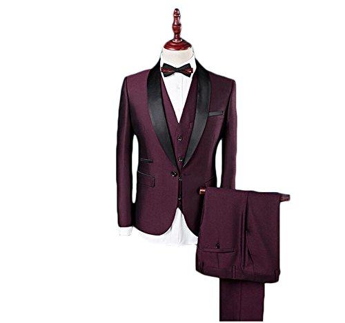 AK Beauty Men\'s 3 Piece Black Lapel Groom Wedding Formal Suit (S ...
