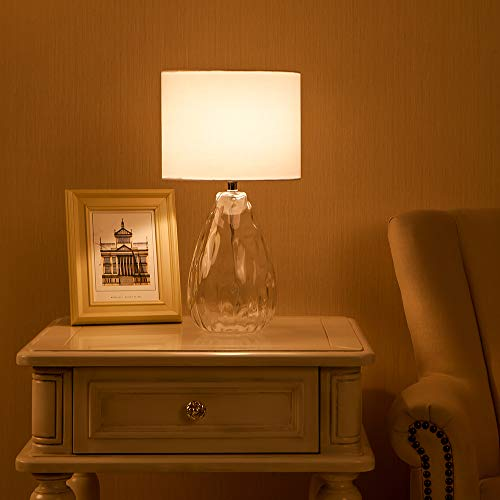 Wtape Modern Clear Glass Base Bedside Table Lamp White for Bedroom, Living Room, Kids Room, College Dorm, Coffee Table, Bookcase by Wtape (Image #5)