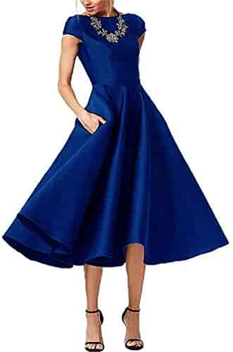 887629fa2a5e3 LeoGirl Women's Short Sleeves Tea-Length Mother of The Bride Dress Satin  Evening Party Gown