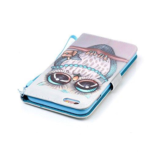 Iphone 6S Plus Case, Papillon Windchime Couleur Motif de peinture Housse en cuir de protection Silicone avec sangle de la main & Holder & Wallet Card Slots pour Iphone 6S Plus ( PATTERN : J , Size : I