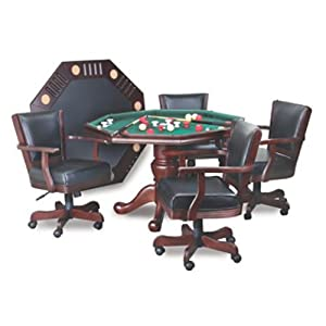 Imperial 3 In 1 Bumper Pool~Poker~Table Top With Mahogany Finish With 4  Chairs