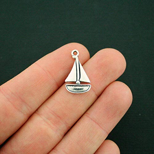 8 Sailboat Charms Antique Silver Tone Jewelry Making Supply Pendant Bracelet DIY Crafting by Wholesale Charms