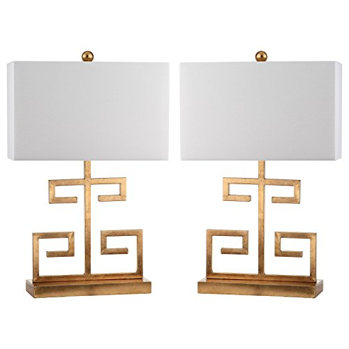 Safavieh Lighting Collection Greek Key Gold 24-inch Table Lamp (Set of 2) by Safavieh