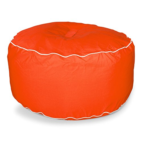 Sunbrella Large Round Bean Bag Ottoman, Melon by Hip Chik Chairs