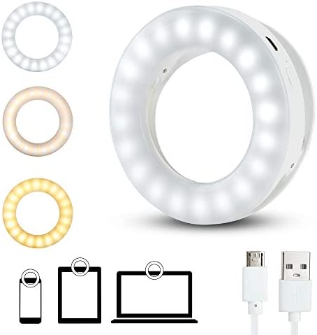 ZAOZAOZAN Phone Selfie Ring Light,Clip-on Led Circle Light Rechargeable Ringlight with 3 Light Models,Brightness Adjustable Lighting for Laptop,iPad,Smartphone,Photography,Video(Mini,White)