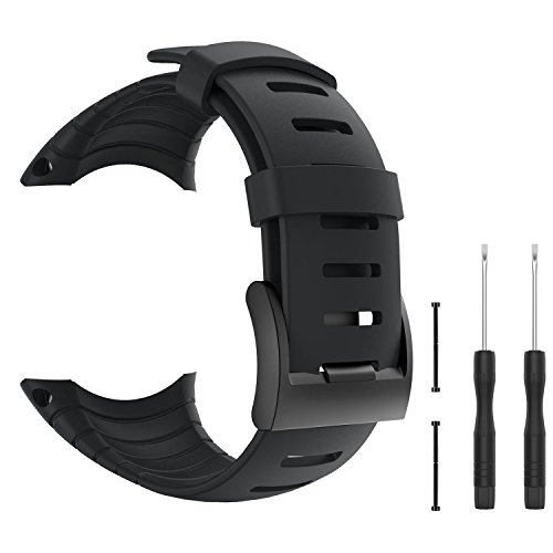 (Betterconn Replacement Sports Watch Band Silicone Bracelet Strap with Metal Clasp for Suunto Core Watch Strap Wristband)