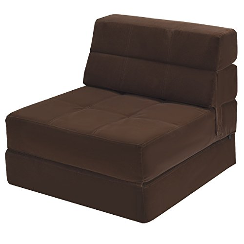 Giantex Fold Down Sofa Bed Floor Couch Foam Folding Modern Futon Chaise Lounge Convertible Upholstered Memory Foam Padded Cushion Guest Sleeper Chair (Brown) (Futon Sofa Bed With Chaise)