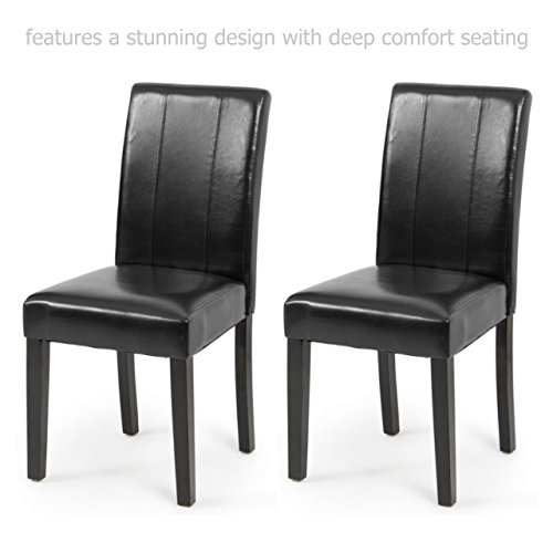 Modern Elegant High Backrest Dining Chairs Sturdy Hardwood Legs Unique PU Leather High Density Padded Seat Home Office Furniture - Set of 2 Black - Joondalup Doctors