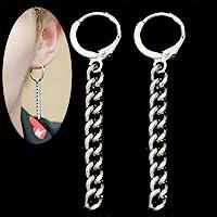 patcharin shop Korean Kpop BTS JIMIN Silver Tassel Drop Dangle Earrings Pendant Jewelry Gift