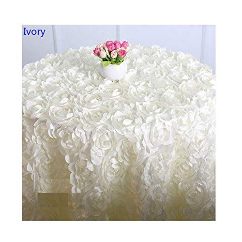 COOCOl Table Linen Wedding Table Cloth Embroider Rosette Flower 3D Table Cover Hotel Banquet Party Decoration,Ivory,120Cm Round ()