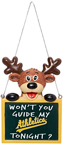 Oakland Athletics Reindeer With Sign Ornament (Oakland Athletics Gift)
