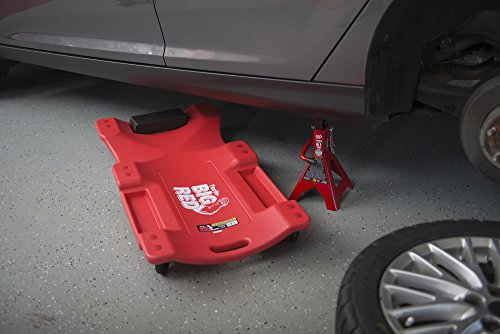 Torin Big Red Rolling Garage/Shop Creeper: 40'' Plastic Mechanic Cart with Padded Headrest, Red by Torin (Image #2)