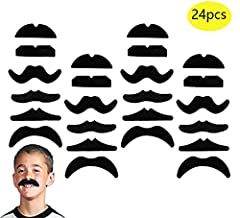 Package Included: 24 PCS Novelty Fake Mustaches. Color: Black. Size:10.7 x 7.9 x 0.2in. Perfect for gifts, parties, costume disguises. The fake mustache kit includes 6 different designs, include the partyboy, the bandit, the smarty and more. ...