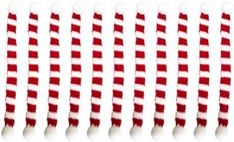 Amosfun 12pz Mini Sciarpa Natalizia con Pallina Pompon Topper Vino Natale Copre Accessori per Vestiti per Bambole Decorazioni per Tavolo da Pranzo di Natale 1x15cm