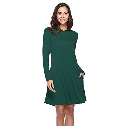 Hooded Sweatshirt Assistant (Hooded Dresses Plus Size,Ankola Women Pullover Solid Pocket Above Keen Length Slim Sweatshirt Causal Hoodie Dress (L, Green))