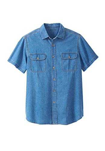 Boulder Creek Men's Big & Tall Short-Sleeve Denim Shirt, Bleach Denim - Shirt Sleeve Denim Cotton Short