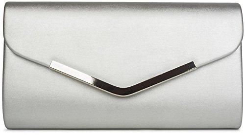 styleBREAKER bolso de mano clutch/bolso de fiesta en diseño de sobre con borde decorativo de metal y cadena amovible para colgarlo, de señora 02012131, color:Azul oscuro Plata