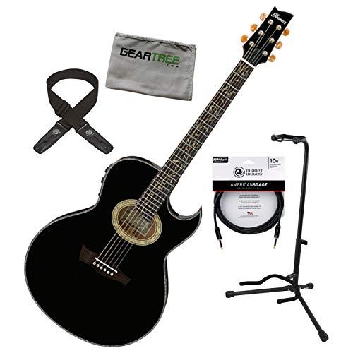 Ibanez EP10BP Steve Vai Signature Black Acoustic Electric Guitar w/Strap, Cable