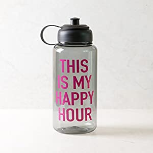 Ankit Happy Hour Gray Sports Water Bottle with Holder Water Cap 35 Oz Good Vibes Only Water Bottle BPA free sports water bottle plastic grey inspirational tritian fitness wide mouth motivational water