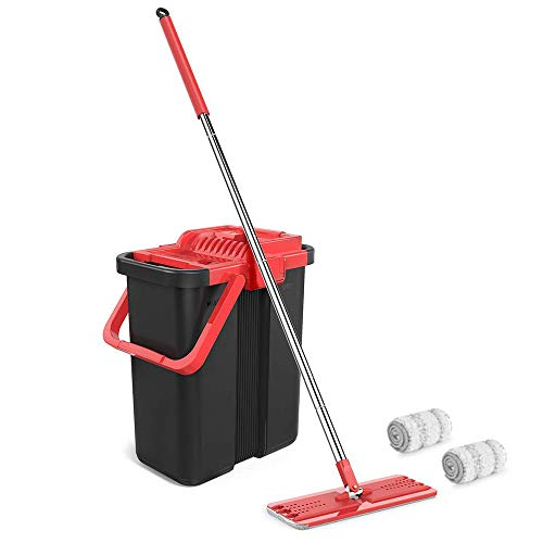 Topmop Microfiber Mop and Bucket System for Floor Cleaning with 3 Washable Flat Microfiber Mop Pads