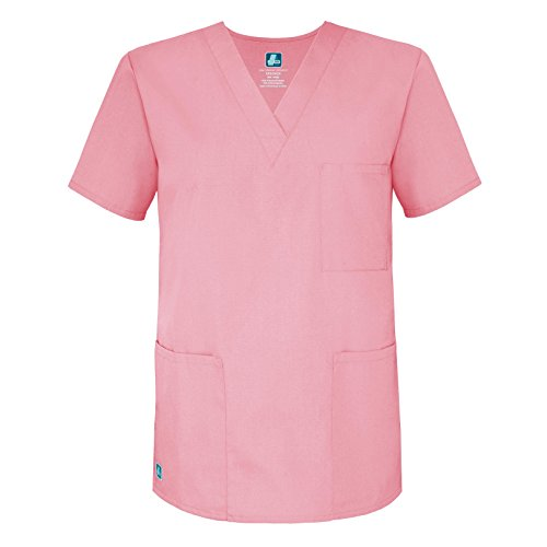 Adar Universal Unisex V-Neck Tunic Top 3 Pockets - 601 - Dusty Rose - XS