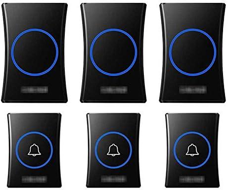 壁のプラグインコードレスドアチャイム、防水ドアベルキットのプラグ、1000フィートの範囲で最高のコードレスドアチャイム38チャイム4レベルボリューム(3つのプッシュボタンと3つのレシーバー),黒