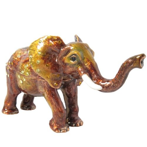 Pecan Brown Enameled Elephant Crystal Antique Vintage Collectible Gift Trinket Jewelry Box ()