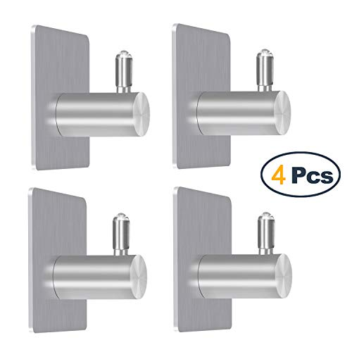 (Adhesive Wall Hooks,4 Pack of Stainless Steel 3M Removable Wall Stick Hangers)