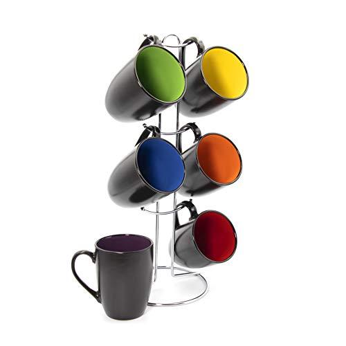 Gypsy Color 12 OZ. Cappuccino Hanging Coffee Mug Set with Metal Tree, Black Multicolor Hand Glazed Ceramic Stoneware