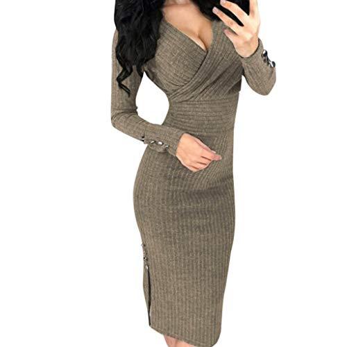 AmyDong Women's Long Sleeve Deep V Sexy Studded Button Solid Slim Skinny Pencil Dress ()