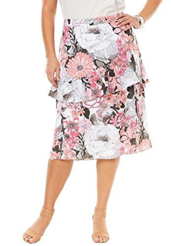 's Plus Size Ruffle Midi Skirt - Sweet Floral Stencil, 14 W ()