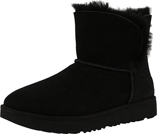 UGG Women's Classic Cuff Mini Winter Boot, Black, 9 M US (Black Lined Ankle Cuff)