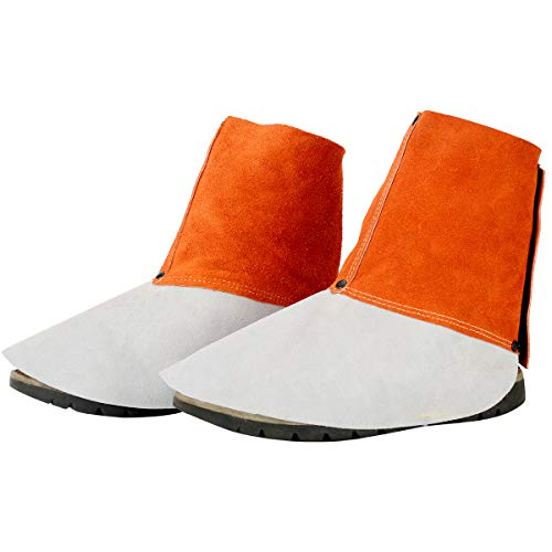 QeeLink Leather Welding Spats - Heat and Abrasion Resistant Welding Boot Covers - Shoes Protectors - Welding Gaiters, 1 Pair -