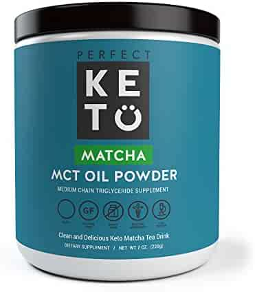Matcha Green Tea Powder w MCT Oil   Organic Ceremonial Grade Japanese Matcha Powder w Medium Chain Triglyceride Powder For Ketosis and Ketone Energy   Matcha Latte Drink - Keto Coffee alternative